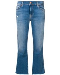 7 For All Mankind - Cropped Flared Trousers - Lyst