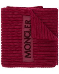 Moncler - Logo Patch Ribbed Scarf - Lyst