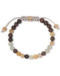 Shamballa Jewels - 18kt Yellow Gold, Brown Sapphires & Diamond Beaded Non-braided Bracelet - Lyst