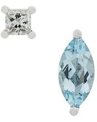 Delfina Delettrez - 18kt White Gold Dots Solitaire Aquamarine And Diamond Earrings - Lyst