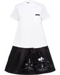 ebfd69970bf6c Prada - Jersey Dress With Embroidered Flounce - Lyst