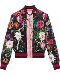 bbf635211 Gucci Flora Snake Vintage Denim Bomber Jacket in Green - Lyst