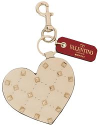 Valentino - Heart-shaped Studded Key Ring - Lyst