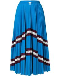Valentino - Chevron Pleated Midi Skirt - Lyst