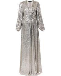Jenny Packham Robe longue brodée de sequins