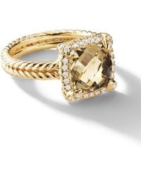 David Yurman - 18kt Yellow Gold Châtelaine Citrine And Diamond Ring - Lyst