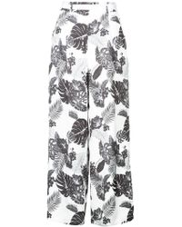 Loveless - Leaves Printed Flared Trousers - Lyst