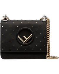 Fendi - Black Kan I Stud Embellished Leather Shoulder Bag - Lyst