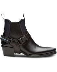 Prada - Leather And Neoprene Booties - Lyst