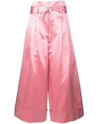 Adam Lippes - Cropped Tie-waist Trousers - Lyst