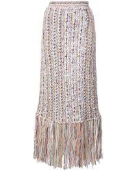 Adam Lippes - Fringed Tweed Midi Skirt - Lyst