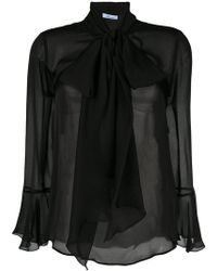 Blumarine - Pussy Bow Sheer Blouse - Lyst