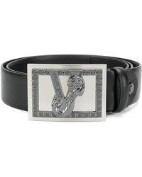 Versace Jeans - Embellished V Buckle Belt - Lyst