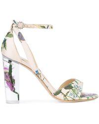 Monique Lhuillier - Botanical Print Side Strap Sandals - Lyst