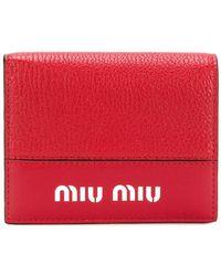 Miu Miu - Logo Plaque Wallet - Lyst