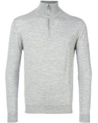 Cruciani - Zipped Funnel Neck Sweater - Lyst