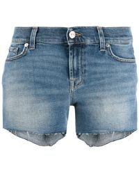 7 For All Mankind - Frayed Denim Shorts - Lyst