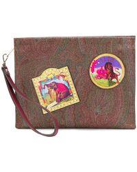 Etro - Badge Design Clutch Bag - Lyst