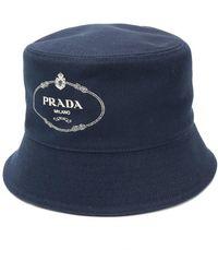 486a6665b4556b Prada Logo Bucket Hat in White for Men - Lyst