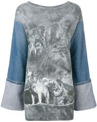 Night Market - Denim Sleeve Wolf Top - Lyst