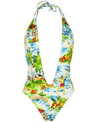 DSquared² - Hawaiian Print Plunge Swimsuit - Lyst