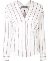 Vince - Striped Cotton-blend Blouse - Lyst
