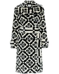Mary Katrantzou - Stokes Faux Fur Tile Print Coat - Lyst