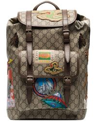 Gucci - Beige And Brown GG Multi-patch Backpack - Lyst