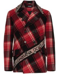 Dolce & Gabbana - Double Breasted Logo Tape Tartan Wool Blend Pea Coat - Lyst