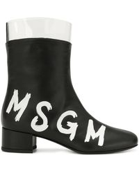 MSGM - Contrast Logo Boots - Lyst