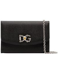 Dolce & Gabbana - Black Dg Crystal Embellished Leather Wallet On Chain - Lyst