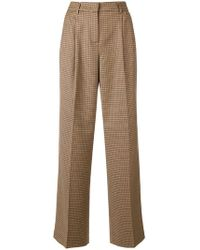 Twin Set - Checked Wide Leg Trousers - Lyst