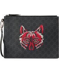 Gucci - GG Supreme Pouch With Wolf - Lyst
