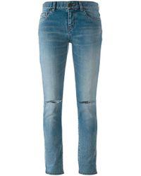 Saint Laurent - Distressed Skinny Fit Jeans - Lyst