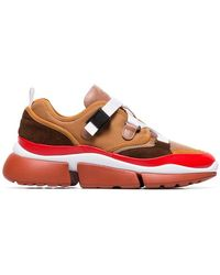 Chloé - Brown, White And Red Sonnie Sneakers - Lyst