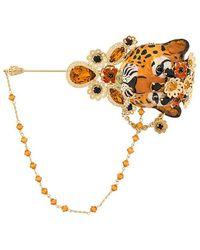 Dolce & Gabbana - Embellished Tiger Brooche - Lyst