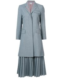 Thom Browne - Pleated Bottom Chesterfield Overcoat In School Uniform Plain Weave - Lyst