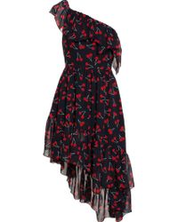 Saint Laurent - - Asymmetric Cherry Print Dress - Women - Silk - 36 - Lyst
