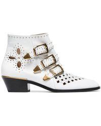 Chloé - White Susanna 30 Studded Leather Boots - Lyst