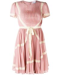 RED Valentino - Lace Trim Pleated Dress - Lyst