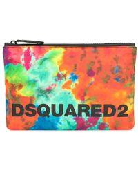 DSquared² Pochette zippée à imprimé tie dye - Orange