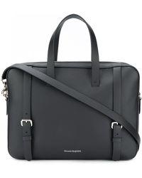Alexander McQueen Pebbled Leather Briefcase - Black