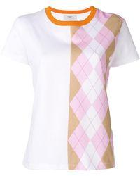 Pringle of Scotland - Argyle Print T-shirt In Pink/camel - Lyst