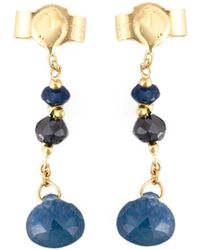 Natasha Collis - Black Diamond And Blue Sapphire Drop Earrings - Lyst