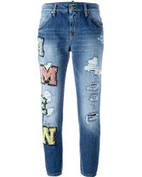 Amen - Beaded Logo Patch Jeans - Lyst