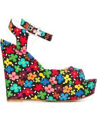 Au Jour Le Jour - Floral Print Wedge Sandals - Lyst