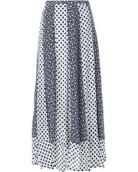 Loveless | Multi Pattern Detail Hem Pleated Midi Skirt | Lyst