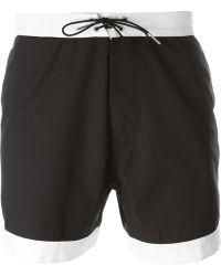 Saint Laurent - Contrast Detail Swim Shorts - Lyst