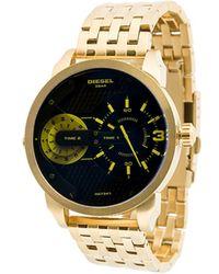 DIESEL - Round Yellow Detailing Analog Watch - Lyst