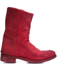 A Diciannoveventitre - Double Zipper Leather Boots - Lyst